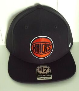 New York Knicks Hat '47 Captain Snapback Cap Navy Blue Skyline Underbrim NBA