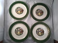 Vintage Antique Everbrite Set of 4 Dish Plates Green 22k Gold 36 55 MADE IN USA