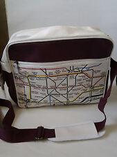 Official LONDON UNDERGROUND shoulder messenger bag burgundy/white