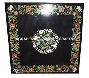 Black Marble Dining Table Top Parrot Art Inlay Work Home Garden Decorative H2053