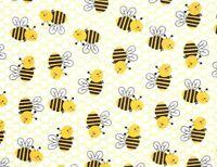 FAT QUARTER FABRIC  HAPPY BUMBLE BEE  HONEY COMB  BEES ALLOVER  100% COTTON  FQ