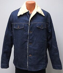 vtg Roebucks RICH BLUE DENIM SHERPA Coat Fit LARGE fleece 70s jacket Sears soft