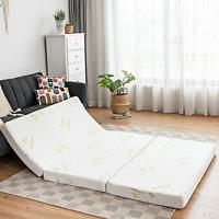 "4"" Full Twin Queen Size Folding Foam Mattress Tri-fold Sofa Bed Soft Sponge Home"