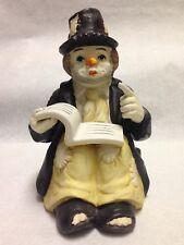 Vintage Sun Saint Hobo Clown Reading Book Music Box Figurine
