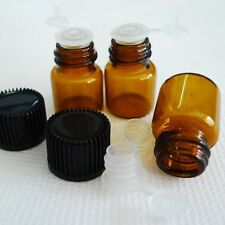 50Pcs  1ml 16x21mm New Amber Glass Essential Brown  Bottles Vials With Screw Cap