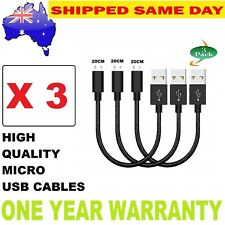 3 X SHORT Micro USB Cable Charge & Sync Data Cable (20 CM )
