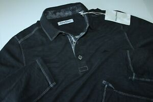 Tommy Bahama Polo Shirt Palmetto Paradise Black T225064 New LS Medium M