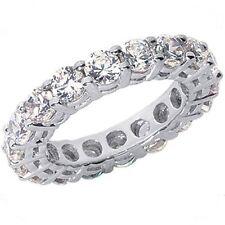 4.82 ct ROUND DIAMOND RING PLATINUM ETERNITY BAND E-F VS GIA 16 X 0.30 ct size 5