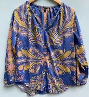 J Crew XS Tunic Top Blue Pink Feather Paisley Shirt 0 2 Blouse Cotton Silk