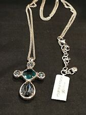 Necklace Conv. Long Green/Gray Brighton Nwt Graceful Cross Crystal