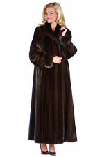 Womens Real Genuine Mink Fur Coat Full Length Size 14 - Turn Back Cuffs
