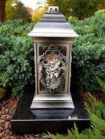 Weiß Grablaterne Grablampe Grableuchte  Grablicht Kerze Engel Grabstein