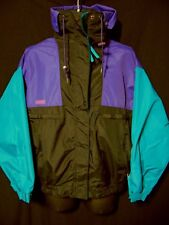 COLUMBIA Vamoose Vintage 90s Outer Jacket L Large Purple Aqua Black Hood Zip