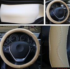 38 cm Beige PU Leather Embossed Car Steering Wheel Cover Anti-slip Four Seasons