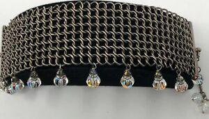 LFK Lori Frantz Koenig Artisan Bracelet Crystal Sterling Silver Chain Mail Mesh