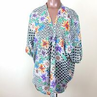 Happening in the Present Tunic Blouse Womens Size XS Multi Color Floral V Neck