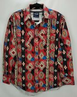 Vintage Wrangler Western Southwest Aztec Shirt 16 1/2 34 Pearl Snap Long Sleeve