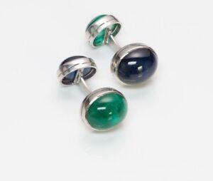 Vintage Platinum Cabochon Emerald & Sapphire Cufflinks