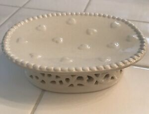 porcelain soap dish Raised Pedistal Heart Design