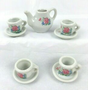 10 Piece Frenzy Toys Ceramic White Pink Blue Green Floral Design Tea Set