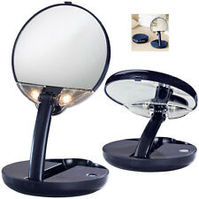 Floxite Lighted Travel Compact Mirror, Adjustable, Table Top, 15X