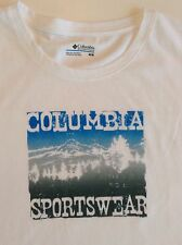 New Columbia Womens T-Shirt/Top Old Timey Blue/White Sign II Sz M Cotton