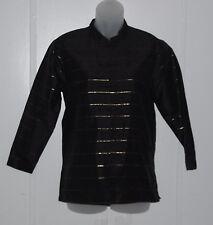 Yi Lin Silk Duppioni Lurex Accent Mandarin Jacket Size S Black