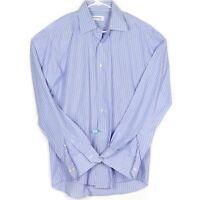 Yves Saint Laurent Mens Dress Shirt Size XL 17 Blue White Striped EUC Near MINT