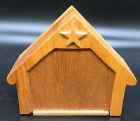 "Hand carved 4.5"" X 5.5"" wooden nativity Mary Joseph baby kings shepherds animals"