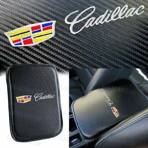 For CADILLAC Carbon Fiber Car Center Console Armrest Cushion Pad Cover Embroider