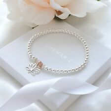 Sterling Silver Sunstone Lotus Flower Beaded Bracelet Crystal Stacking Jewellery