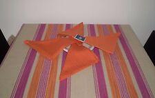 TOVAGLIA 135 x 185 cm +4 tovaglioli riga arancio rosa , tinto filo , cotone