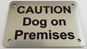 Caution Dog on Premises Sign Plaque 30 Colours 7 Sizes Beware Puppy Gate