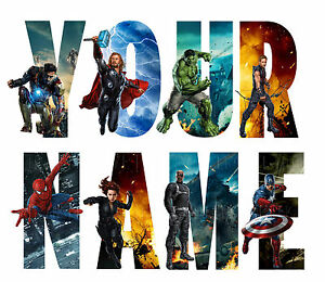 MARVEL AVENGERS LETTER NAME STICKERS WALL DECO DECAL 4 SIZES PERSONALISED lot CH