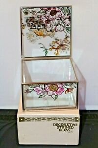 Glass Trinket Box Mirrored Base Rose Cottage  Decorative Stained Glass in Box