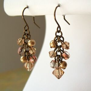 Bronze Copper and Topaz Crystal Cluster Earrings Made with Swarovski