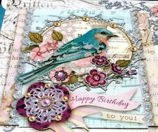 pUNCH sTUDIO Single(1) 3D Die-Cut Glitter Card+Seal+Env ~ Birthday Crown Bird
