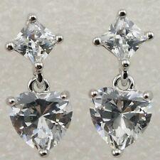 Lovely Nice White Sweet Heart CZ Gems Jewelry Gold Filled Stud Earrings H1296