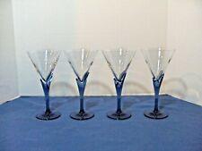 Luigi Bormioli Crystal Martin Glasses W/ Blue Tulip Stems Beautiful Set Of 4 #2