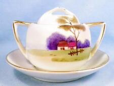 Hand Painted Nippon Jelly Mayonnaise Mustard Jar Pot House Field Vintage