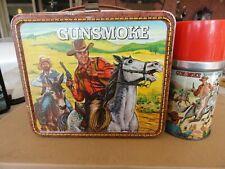 Vintage Very Rare 1973 Gunsmoke Metal Lunchbox With Matching Thermos VG