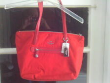 Coach True Red Nylon/Leather Zip Tote Shoulder Bag #35500 (New With Tags)