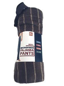 Mens Microfiber Fleece Lounge Pants Pajama Pants Brown Striped Size XL