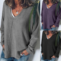 UK Womens Long Sleeve Blouses Knitted Sweater Ladies Casual Baggy Tops Knitwear