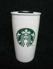 2011 Starbucks 12 Oz Tumbler Coffee/Tea Travel Mug Cup Ceramic with Plastic Lid
