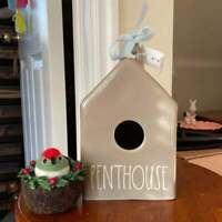 BRAND NEW 2021 Release Rae Dunn PENTHOUSE Gray/Ceramic House-Shaped Birdhouse