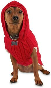 Bond and co red dog pet camper knit sherpa lined sweater with hood NWT SIZE XL