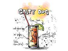 Impresión arte cartel Pintura Dibujo alcohol cóctel receta Salty Dog lfmp0946
