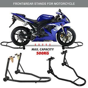 Motorcycle Bike Stand Front&Rear Heavy-Duty Motorbike Lift Paddock Carrier Black