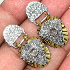 Two Tone - Rose Quartz - Madagascar 925 Silver Earring - Stud AE140349 XGB